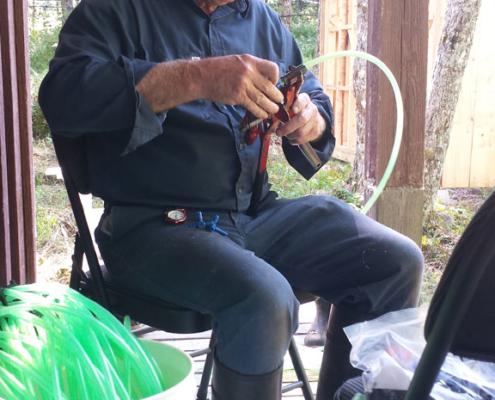 Preparing Maple Syrup Lines